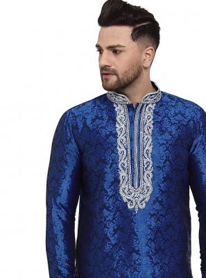 Blue Embroidered Banarasi Silk Kurta