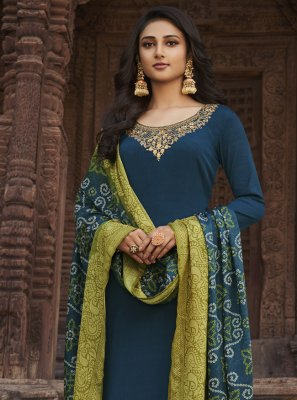 Blue Embroidered Ceremonial Designer Palazzo Salwar Kameez