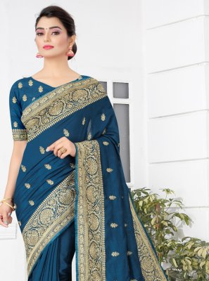 Blue Embroidered Ceremonial Designer Traditional Saree