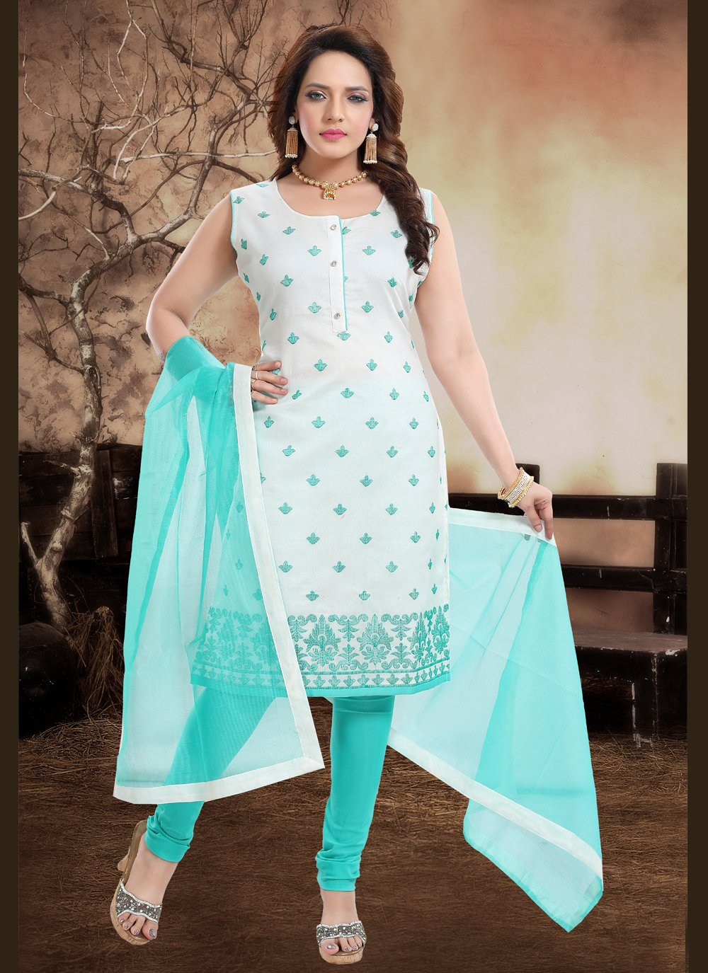 Blue Embroidered Chanderi Readymade Suit