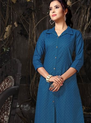 Blue Embroidered Cotton Casual Kurti