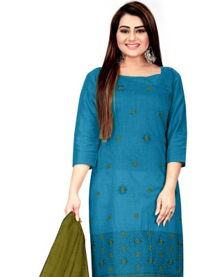 Blue Embroidered Cotton Churidar Suit