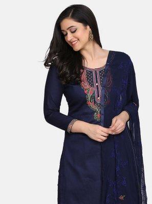 Blue Embroidered Cotton Designer Suit