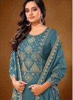 Blue Embroidered Cotton Lawn Designer Pakistani Suit