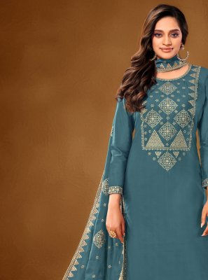 Blue Embroidered Cotton Lawn Designer Pakistani Suit