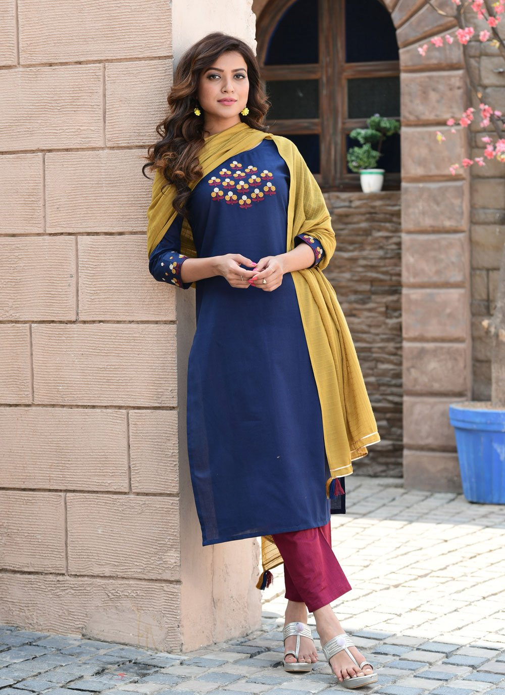 Blue Embroidered Cotton Readymade Suit
