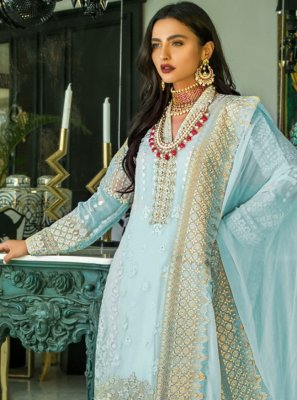 Blue Embroidered Designer Pakistani Salwar Suit