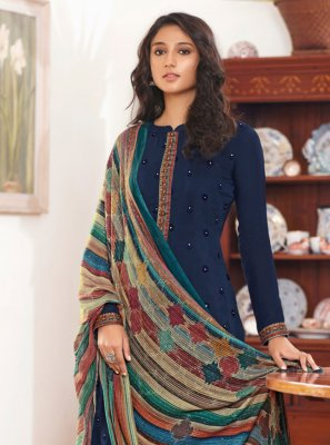 Blue Embroidered Designer Straight Suit