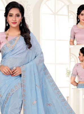 Blue Embroidered Engagement Designer Saree