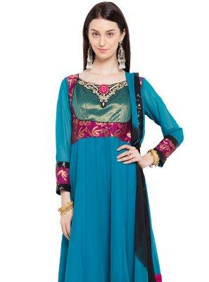 Blue Embroidered Engagement Readymade Churidar Salwar Kameez