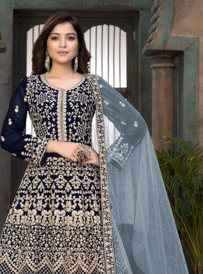 Blue Embroidered Faux Georgette Floor Length Anarkali Suit
