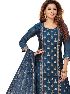 Blue Embroidered Festival Salwar Suit