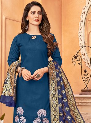 Blue Embroidered Handloom Cotton Pant Style Suit