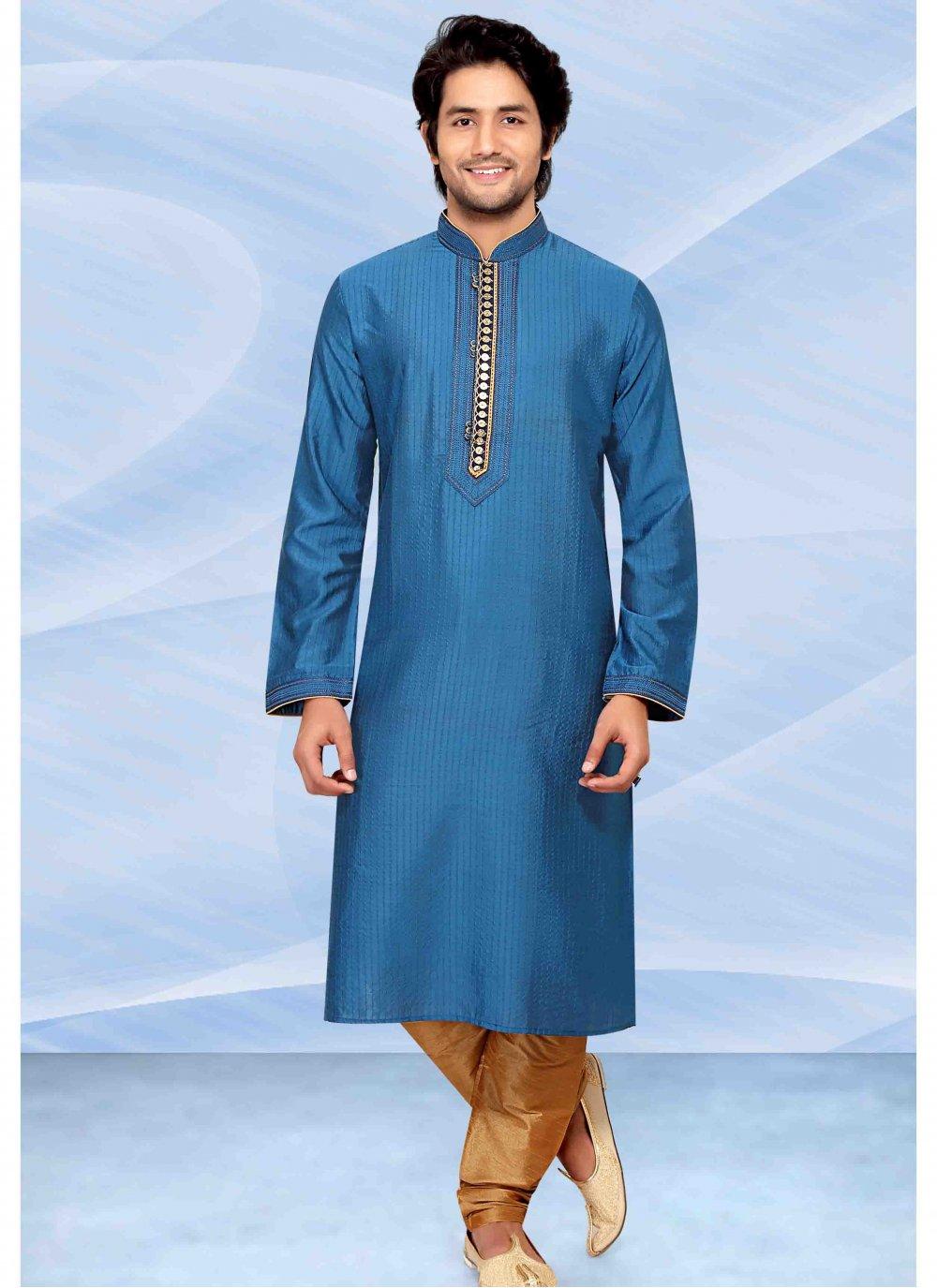 Blue Embroidered Kurta Pyjama