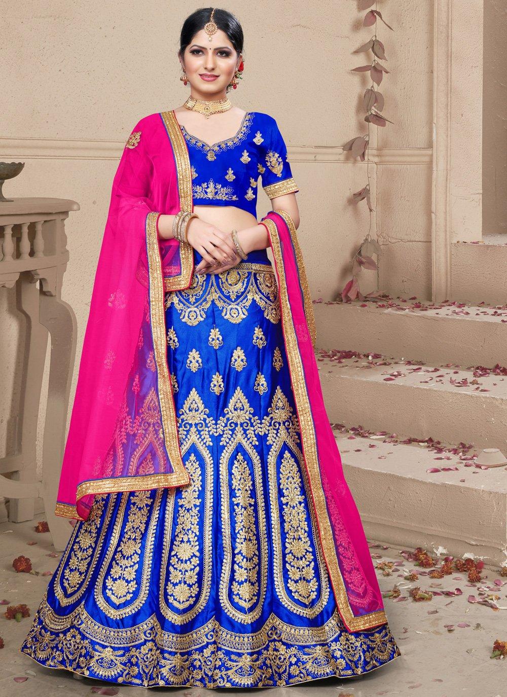 Blue Embroidered Lehenga Choli