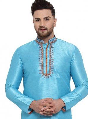Blue Embroidered Mehndi Kurta