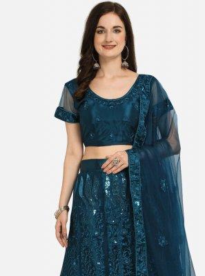 Blue Embroidered Mehndi Lehenga Choli