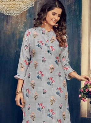 Blue Embroidered Muslin Party Wear Kurti
