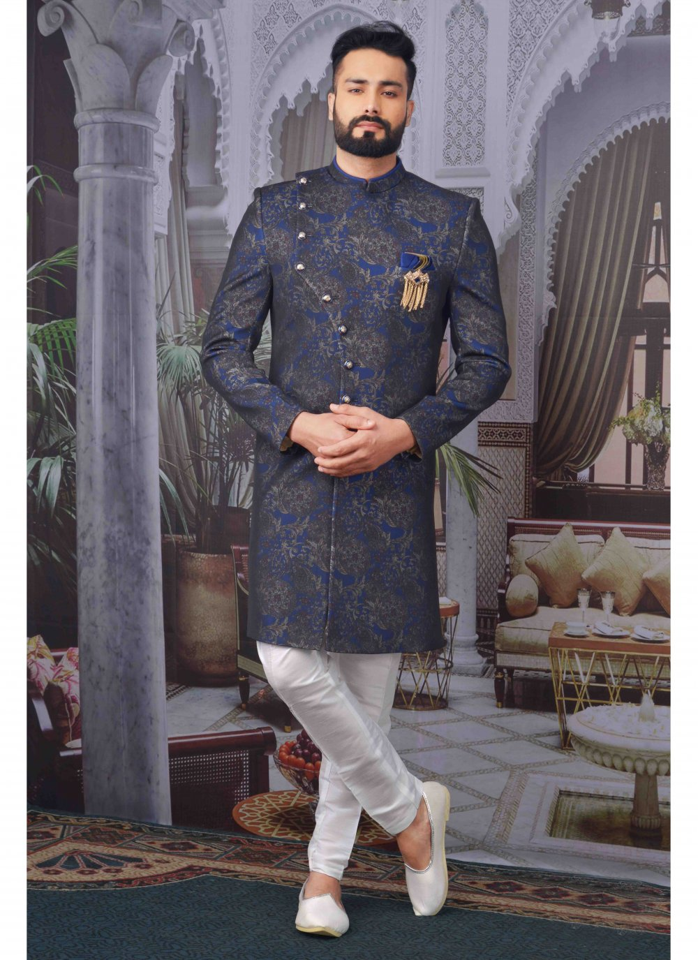 Blue Embroidered Party Indo Western