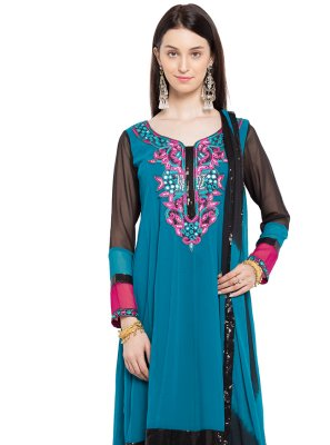 Blue Embroidered Party Readymade Anarkali Salwar Suit