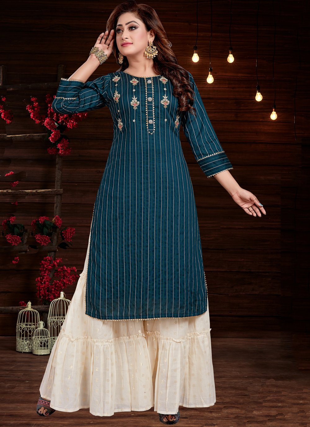 Blue Embroidered Party Wear Kurti