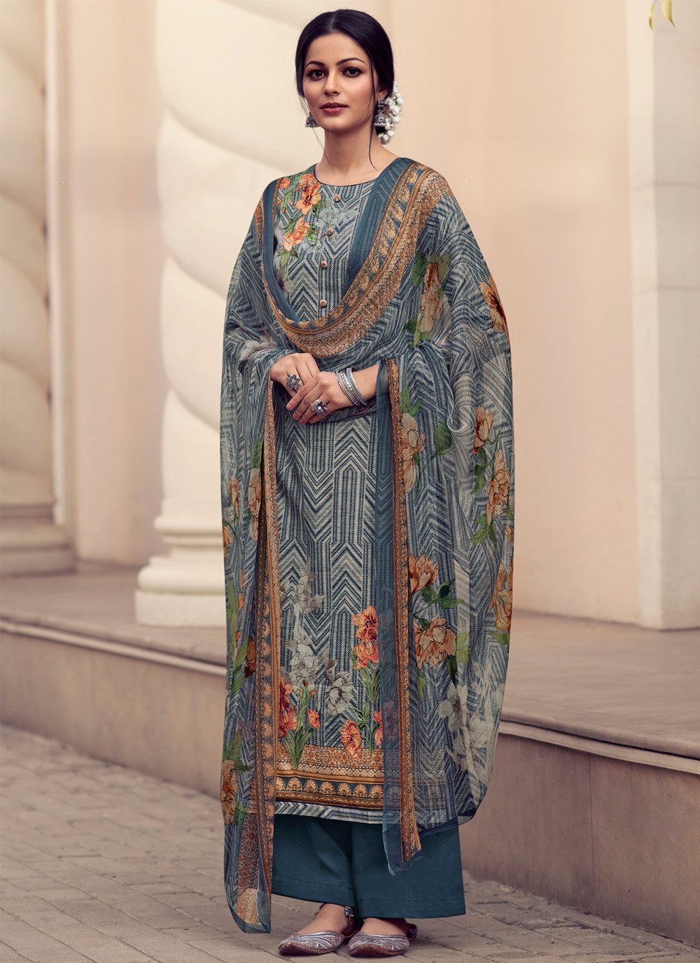 Blue Embroidered Satin Designer Palazzo Suit