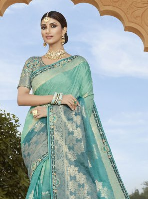 Blue Embroidered Silk Classic Designer Saree
