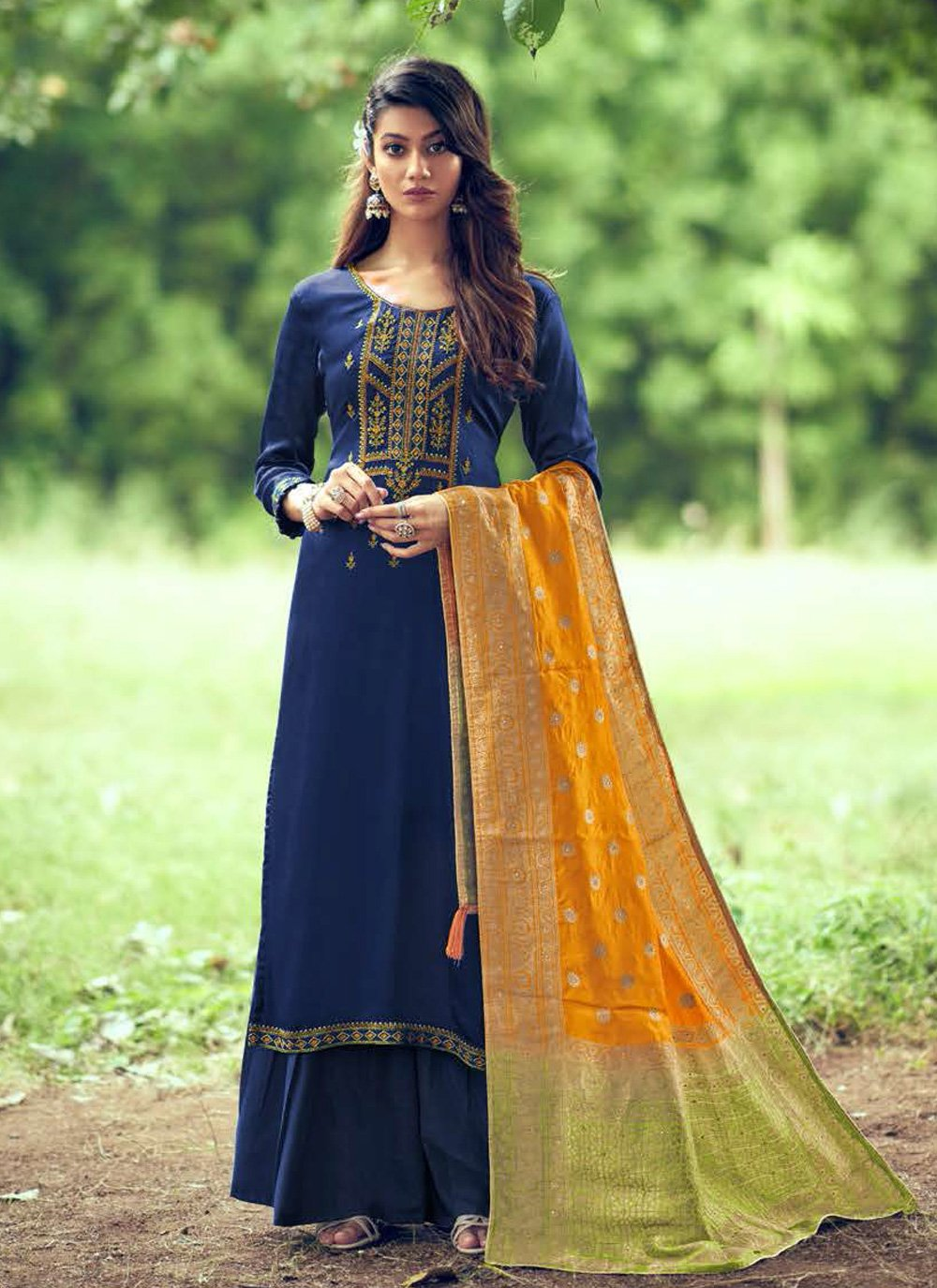 Blue Embroidered Silk Designer Palazzo Suit