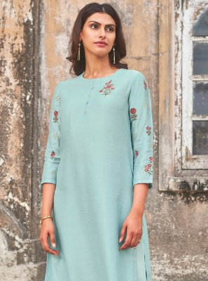Blue Embroidered Silk Party Wear Kurti