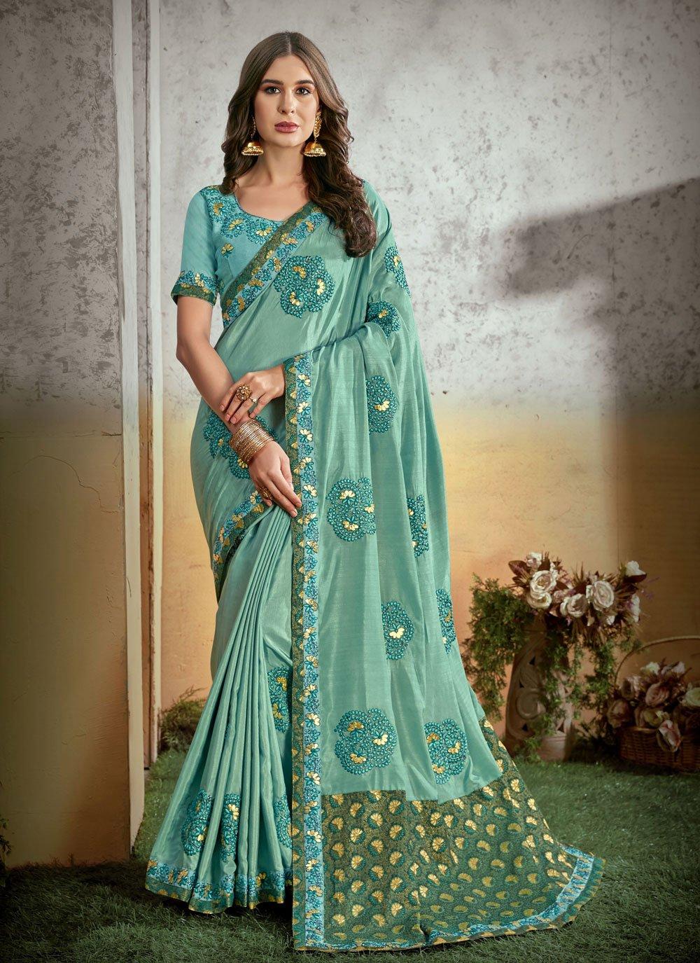 Blue Embroidered Silk Trendy Saree