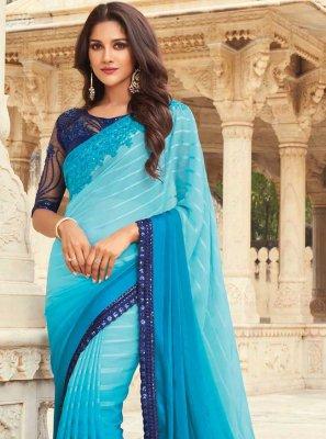 Blue Embroidered Traditional Designer Saree