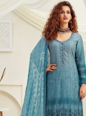 Blue Engagement Designer Palazzo Suit