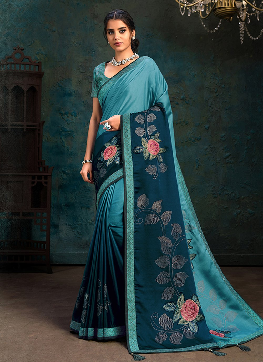 Blue Engagement Silk Shaded Saree