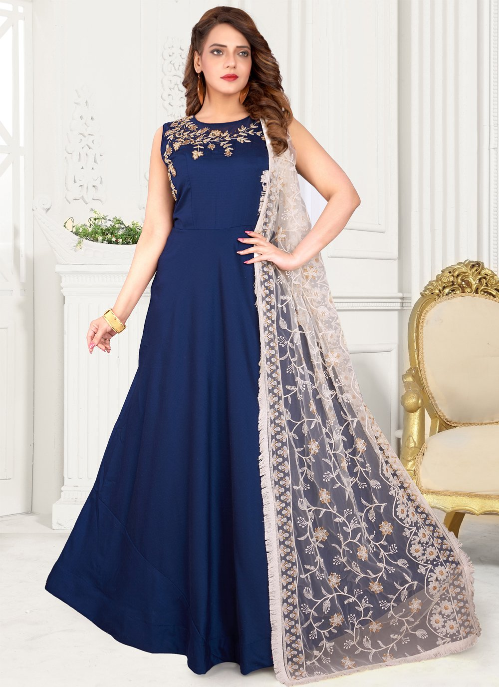 Blue Fancy Art Silk Floor Length Anarkali Suit