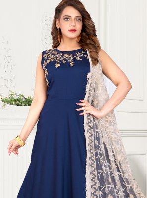 Blue Fancy Art Silk Floor Length Anarkali Suit