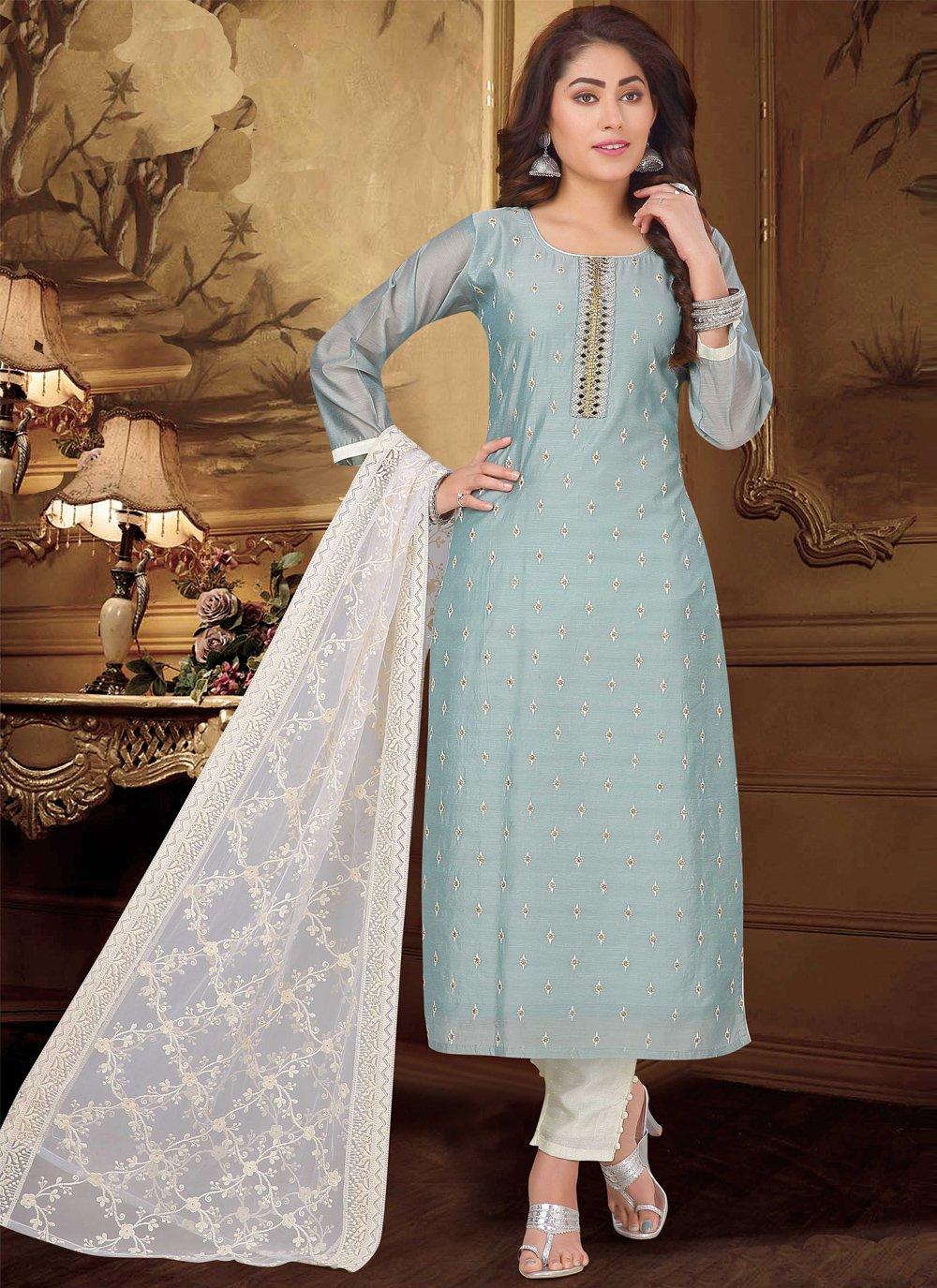 Blue Fancy Chanderi Designer Suit