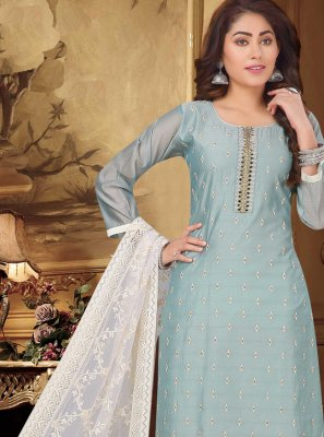 Blue Fancy Chanderi Designer Suit