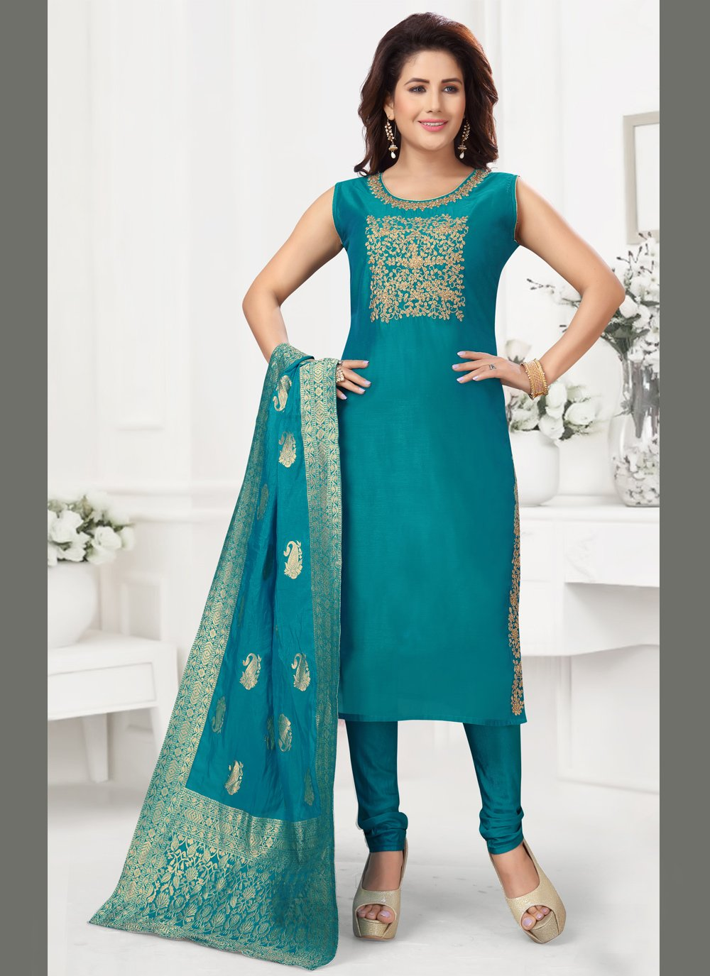 Blue Fancy Chanderi Readymade Suit