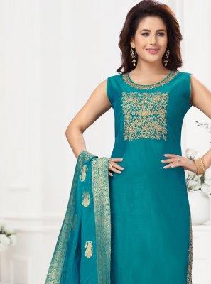 Blue Fancy Chanderi Readymade Suit