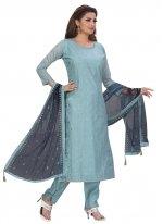 Blue Fancy Designer Straight Suit