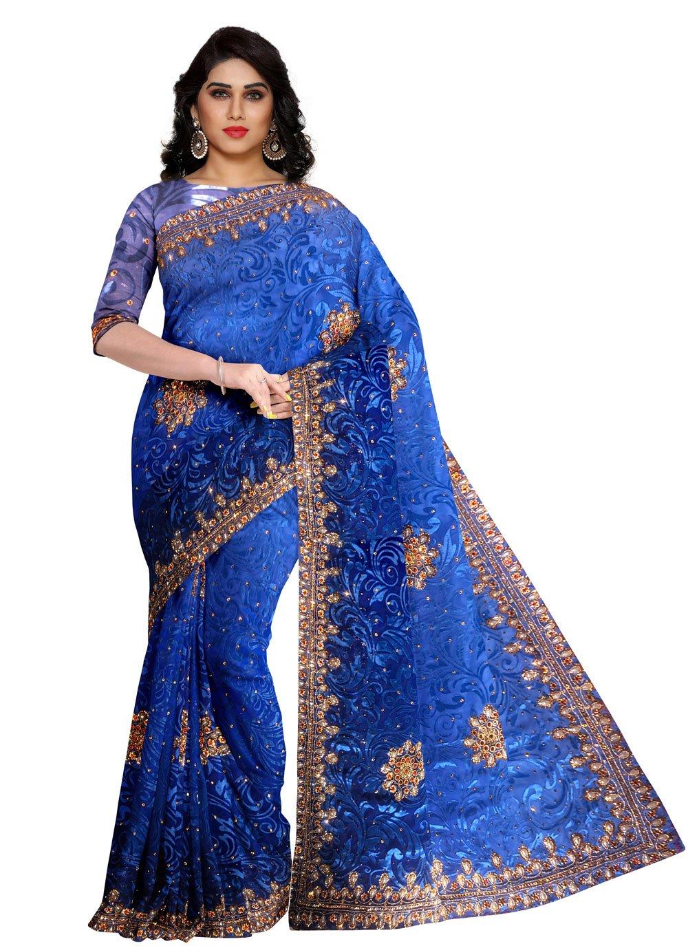 Blue Fancy Engagement Designer Saree