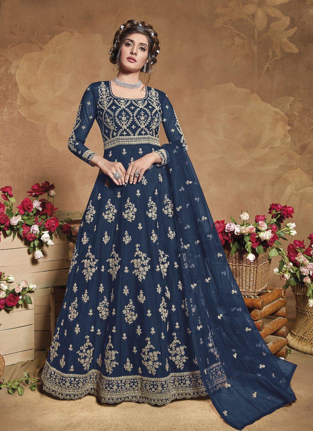 Blue Fancy Engagement Floor Length Anarkali Suit