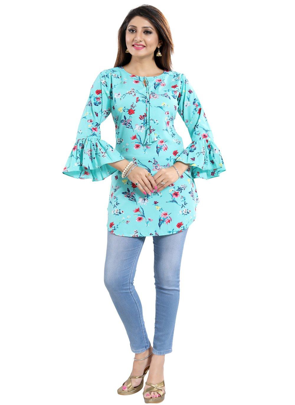 Blue Fancy Fabric Casual Kurti