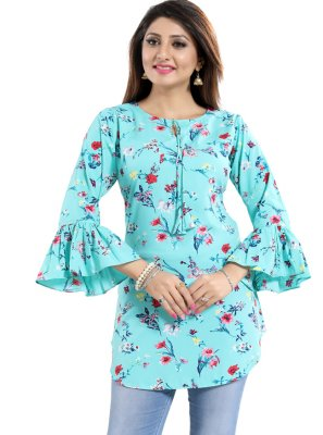 Blue Fancy Fabric Casual Kurti