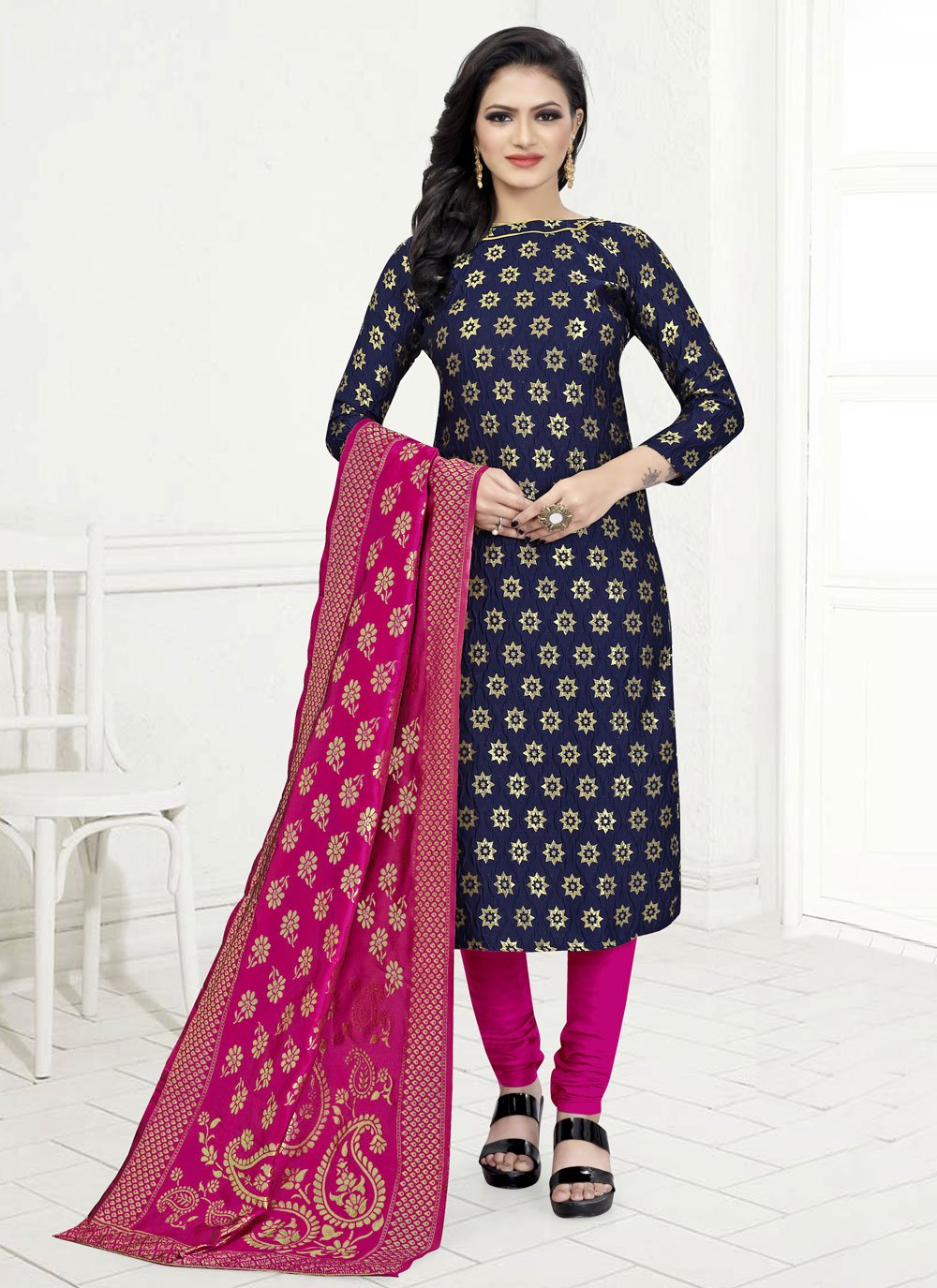 Blue Fancy Fabric Churidar Suit