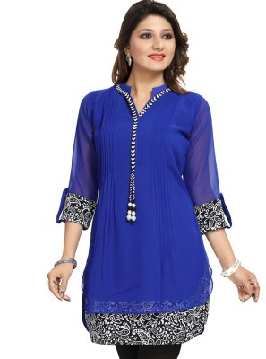 Blue Fancy Fabric Festival Casual Kurti