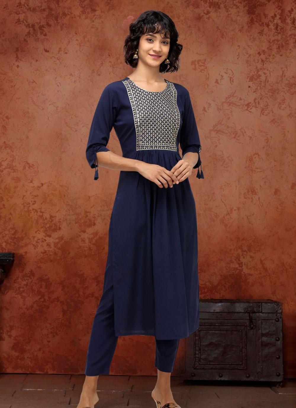 Blue Fancy Fabric Party Wear Kurti