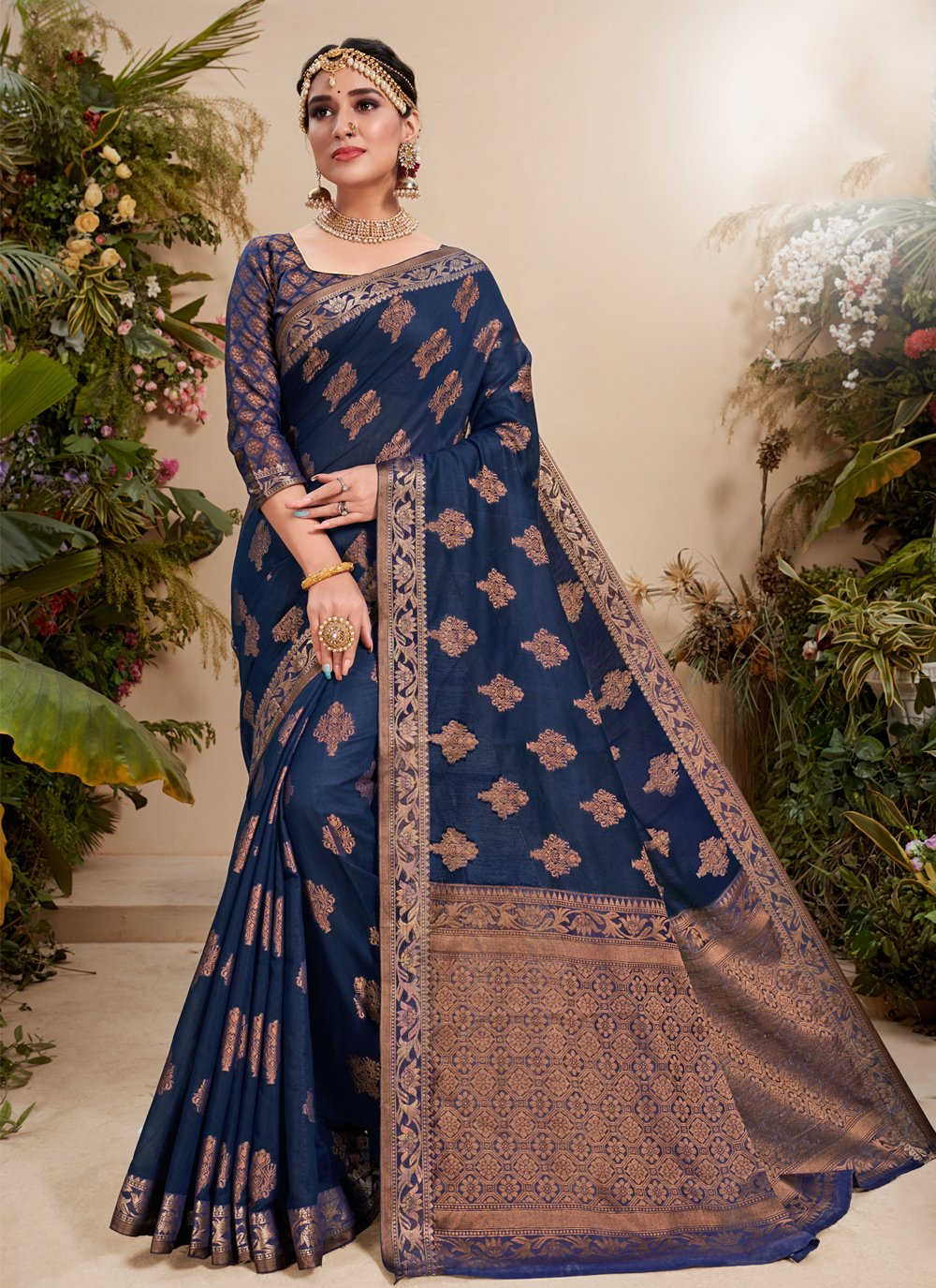 Blue Fancy Fabric Trendy Saree