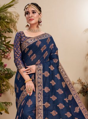 Blue Fancy Fabric Trendy Saree