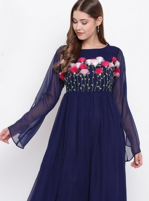 Blue Fancy Faux Georgette Party Wear Kurti